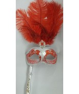 Red Silver Removeable Stick Venetian Masquerade Mardi Gras Feather Mask - $23.74