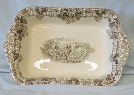 Spode Byron Rectangle tab Handled Serving Bowl HTF Black, Lady with Dog - $128.59