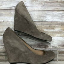 Via Spiga Pumps Shoes Womens 7.5M Gray Suede Wedge Heel Leather Lining - $41.94
