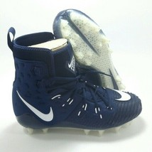 NIKE Size 17 FORCE SAVAGE Football Cleats Shoes High Top 918345-414 Blue White - $29.99