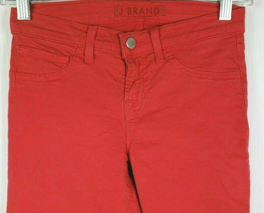 """J Brand """" Skinny Gamba """" Rosso Jeans 24 Cotone Elasticizzato Stile #811K120 image 2"""