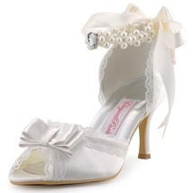 Ivory or White High Heel Pearls Ankle Strap Peep Toe Satin Ladies Bridal... - $99.99+