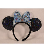 Disney Parks Blue Sequins Beaded Bow Minnie Mickey Mouse Ears Cinderella... - $25.74