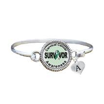 Custom Cervical Cancer Survivor Silver Bangle Bracelet Jewelry Choose Initial - $13.80+
