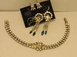 2 Sets of Vintage Rhinestone  Earrings and Rhinestone Bracelet  ,Very Nice - $18.66
