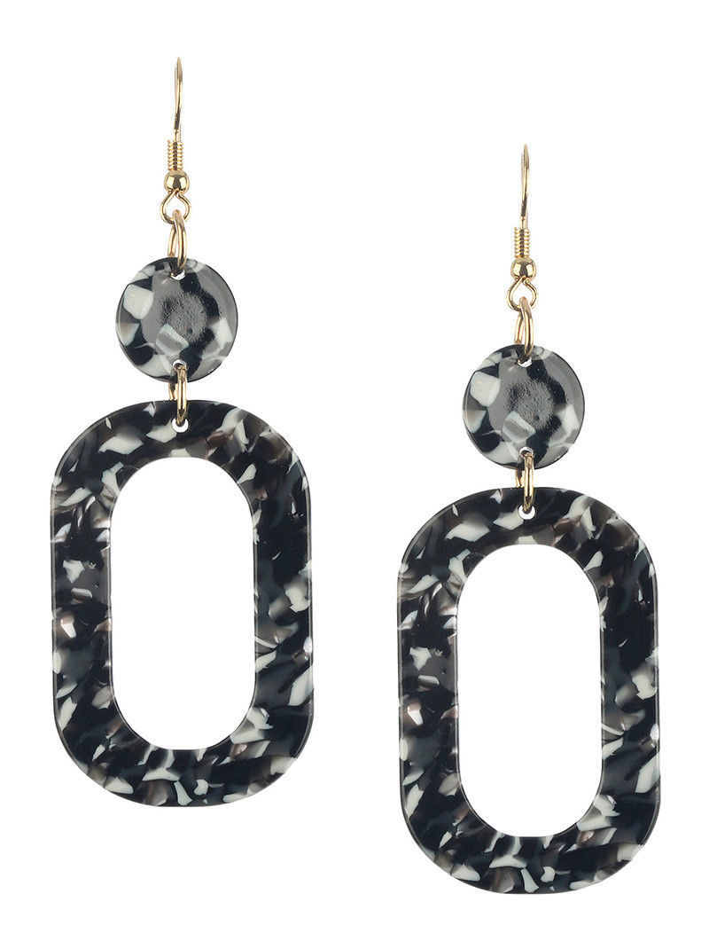 "Retro Vintage Style Marble Lucite Stone Dangle Earrings Black Multi 3"" Drop"