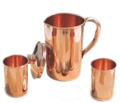 Ayurvedic Pure Copper Water Pitcher Jug Set with 2 Water Glasses - $37.14