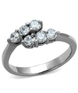 MJS Women's Stainless Steel 6 Round CZ Bypass Fashion Promise Ring Size 9 - $13.04