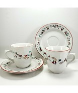 Farberware White Christmas Cup & Saucer 8oz Set of 2 Holiday Snow Scene 391 - $9.90
