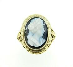 Art Deco 10k Yellow Gold Genuine Natural Stone Cameo Filigree Ring (#J5059) - $382.50