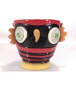Colorful Owl Trinket Dish Think Big Red Black Yellow Motivation Planter ... - $19.38