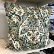 Pottery Barn Florentine Pillow Cover Blue 22 sq Paisley Floral Euro Sham... - $26.53