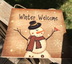 2426 Primitive Wood Hanging Snowman Winter Welcome Sign - $9.95