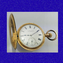 Vintage & Retro 14k Gold Elgin 7 Jewel Deco Half Hunter Pocket Watch 1902 - $528.02