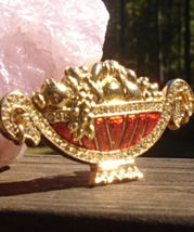 1996 Limited Edition Trifari TM Cornucopia Brooch, Fruit Bowl, Red Enamel - $125.00