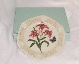 PartyLite Stargazer Lily Candle Plate Botanical Collection Dishwasher Safe  - $14.80