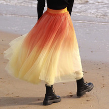Women Dye Yellow Full Tulle Skirt High Waist Tie Dye Tulle Skirt Holiday Outfit image 1