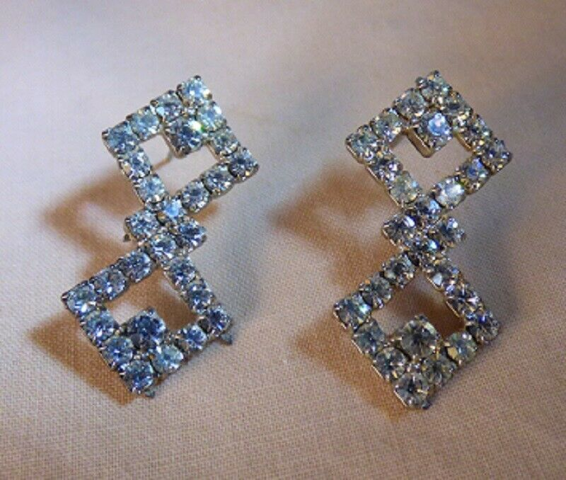 Primary image for Vintage 1930s-40s Rhodium Rhinestone Double Diamond Earrings Pierced Prong Set