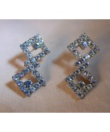 Vintage 1930s-40s Rhodium Rhinestone Double Diamond Earrings Pierced Pro... - $15.00