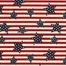 Tossed Stars on Stripes-BTY-Fabric Traditions-Red-White-Blue - $9.95