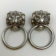 Vintage Lion Head Door Knocker Earrings Pierced Silver Tone Lions Dangle... - $19.76