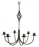 """""""BIRD CAGE"""" BASKET WROUGHT IRON CANDLE CHANDELIER - 6 Arm Handcrafted Ca... - $137.17"""