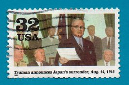 Scott  #2981 Use Postage Stamp 32c Truman Accepts Japan's Surrender  (19... - $1.99