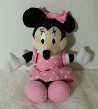 "Disney 8"" Minnie Mouse Plush Doll Pink Polka Dot Dress Embroidered Eyes  - $14.62"