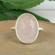 Solid 925 Sterling Silver Rose Quartz Gemstone Women's Engagement Rings - $29.02