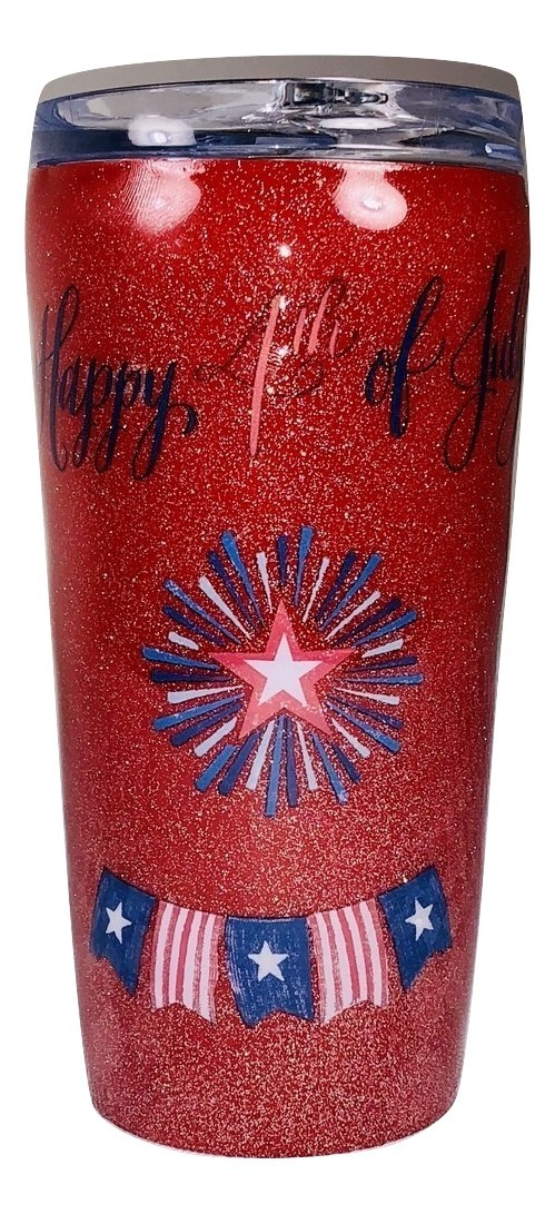 Custom Red Glittered 4th or July Tumbler