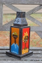 Rustic Fixe Reverse Glass Colorful Portrait Lantern African Handcrafted ... - $39.55