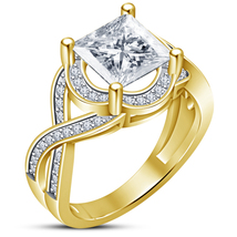 14k Yellow Gold Plated 925 Silver Criss Cross Wedding Ring Princess Cut ... - $76.99
