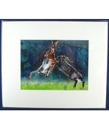 """Jumping Hares Mark Nolan Print From Watercolor 10""""x12"""" Matted Art - $15.00"""