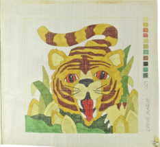 """Vintage 70's Lynne Marie Palm Beach Hand Painted Needlepoint """"023"""" 14-CT Tiger - $29.17"""