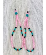 Native American Style Pink Black Red,Turquoise Beaded Dangle Pierced Ear... - $13.46