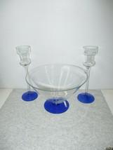 Vintage International Silver Company Crystal Glass Blue Candlesticks & Bowl - $25.99