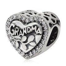 Love Grandma Charm 925 Sterling Silver Heart Beads fit Woman Charm Brace... - $25.41