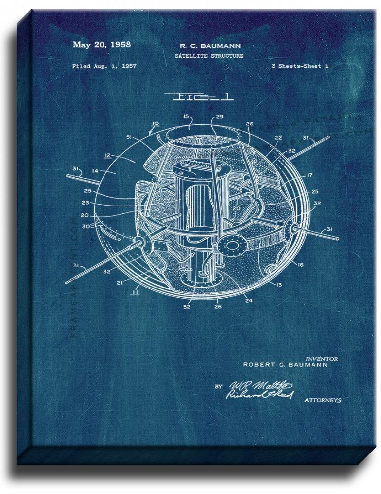 Primary image for Satellite Structure Patent Print Midnight Blue on Canvas