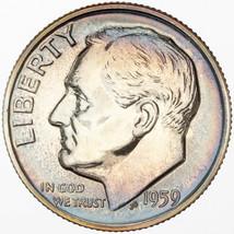 1959-P SILVER ROOSEVELT DIME PROOF TONED GEM BU COLOR GORGEOUS UNC PURPL... - $25.99