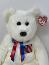 "Ty Beanie Buddies LIBEARTY The Bear White Soft Stuffed Animal American Flag 13"" - $9.99"