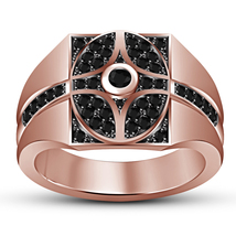 Black Diamond Mens Engagement Pinky Ring 14k Rose Gold Over 925 Sterling... - $93.99
