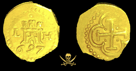"PERU 1 ESCUDO 1697 ""1715 FLEET SHIPWRECK"" PIRATE GOLD COINS TREASURE DOU... - $17,500.00"