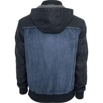 Mens Urban Classic Denim Hoodie Bomber Leather Jacket image 2
