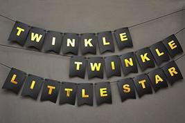 Twinkle Twinkle Little Star Banner - Black And Gold Card Banner - First Birthday - $12.86