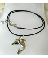 Dolphin Necklace Black Cotton Cord 16-18 Inch Women Men Great Gift Ideal - $9.89