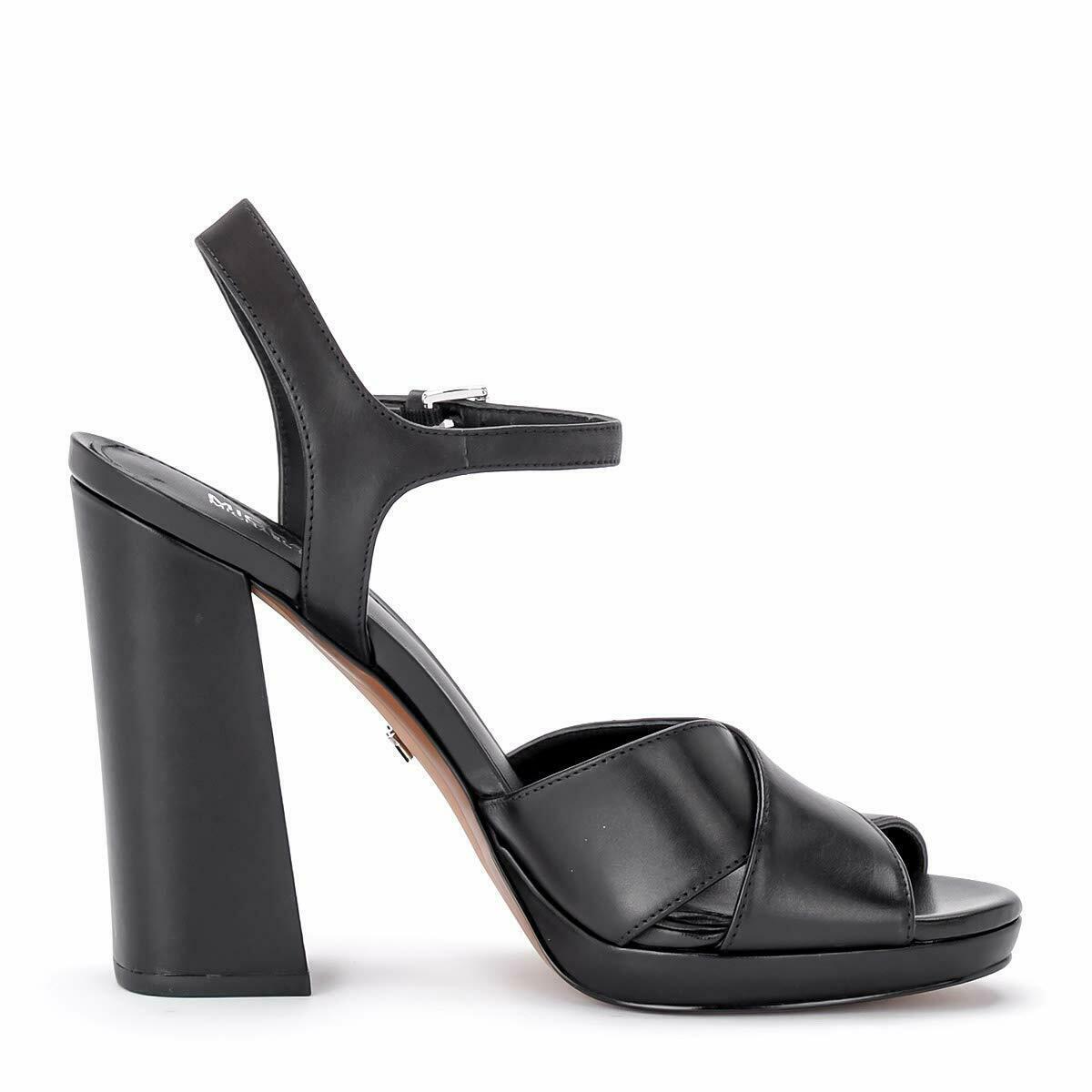 MICHAEL Michael Kors Alexia Platform Block Heel Sandals, Multi Sizes Black Leath