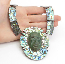 TAXCO 925 Silver - Vintage Face Carved Jasper & Abalone Chain Necklace -... - £261.41 GBP