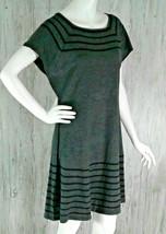 Maggy London Womens Size XL Gray Black Stripe Knit Sheath Dress Cap Sleeves - $21.36