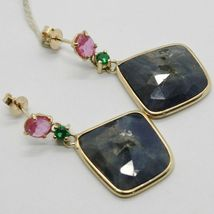 YELLOW GOLD EARRINGS 9K WITH SAPPHIRES BLUE AND PINK AND PERIDOT MADE IN ITALY image 3