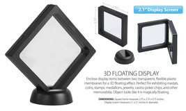 "3D Floating View Coin Display Frame Holder Box Case Medium Black (2.1"") ... - $10.87"
